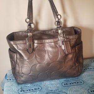Coach metallic leather tote bag